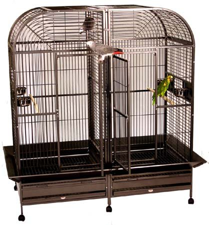 "Piilani Plantation Extra Large Double Bird Cage with Double Divider - Double Parrot Cage - Perfect for Large Parrots/Birds, African Greys, Macaws, Cockatoos - Platinum - 64""W X 32""D X 70""H by BirdCages4Less"