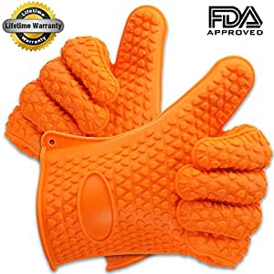 #1 Highest Rated Heat Resistant Silicone BBQ Gloves - One Pair - Safety Orange with Heart Pattern