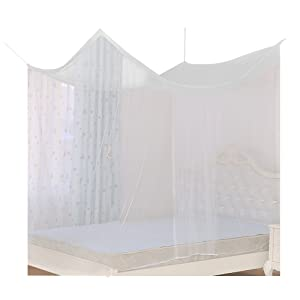 220*200*200cm Moustiquaire de Lit Double 2 Places Baldaquin Rectangulaire Adulte + 2 Crochets + 2 Clips + 1 Rouleau de Corde