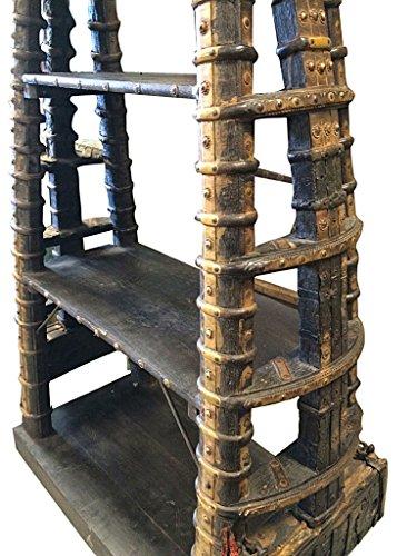antique bookcase  indian bookshelf  ox cart harness brass