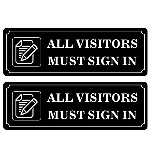 Outdoor/Indoor (2 Pack) 9 X 3 ALL VISITORS MUST SIGN IN Sign Black & White Sticker Decal - For Business Store, Shop, Cafe, Office, Restaurant - Back Self Adhesive Vinyl