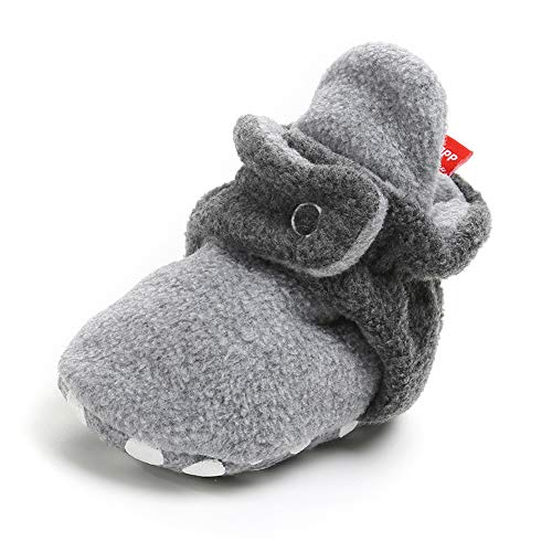 Sawimlgy Baby Boys Girls Warm Fleece Ankle Booties Soft Sole Non-Skid Sock Shoes Prewalkers Frist Birthday Gift (0-6 Months, A-Gray/Gray) ()