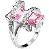 Womens Platinum Plated Square Cut Solitaire Pink CZ Stretch Unique Design Promise Ring Wedding Band 8
