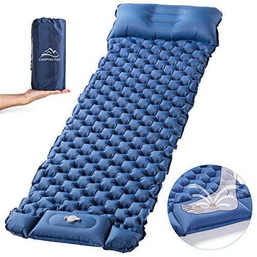 Luxear Campingmatras zelfopblazend met snelle voetpomp voor 1 persoon, opblaasbaar luchtbed gemakkelijk draagbaar…