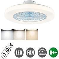 Ventilator aan het plafond met LED-licht, Wind snelheid instelbaar, verstelbaar Afstandsbediening, 72W Modern LED Lamp van het Plafond Decoration Bedroom Lighting Dining Room, Blue (Color : Blue)