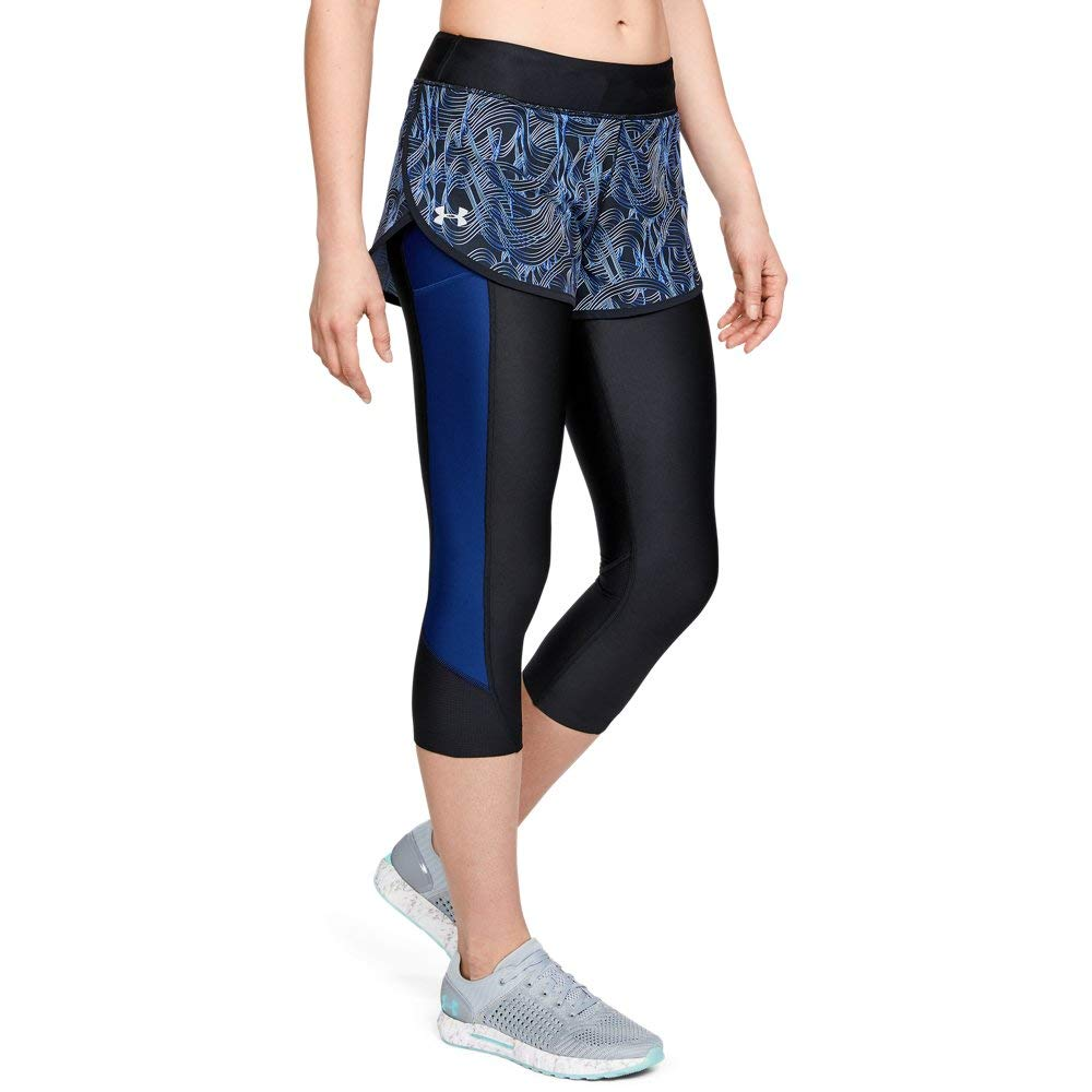 Under Armour Women's Fly Fast Print Shapri Bottom, Black (003)/Reflective, X-Large