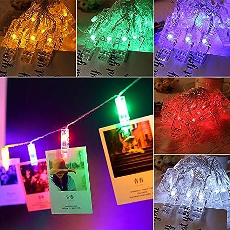 la f/ête Guirlande lumineuse photo Clip string lights couleurs d/éclairage pour la d/écoration 40LED clip photo No/ël mariage d/écoration Suspendre Photo