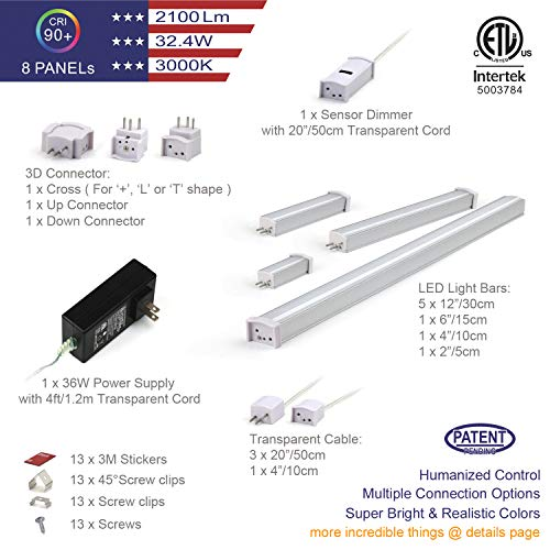 EBD LED Under Cabinet Lighting Set Hand Wave Activated Touchless Dimmable Control, Direct-Connection Design & Cross Connector 12 inch Slim Counter Light 42LED, 5.4W, 2100Lm 3000K Warm White Pack 8