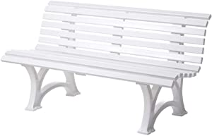 Plow & Hearth German-Made, Weatherproof Resin 3-seat Garden Bench, Ergonomic Design, Holds Up to 500 lbs, Weighs 46 lbs, White, 59