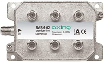 Axing BAB 6-02 - Derivador Acoplador direccional de señal TV con conector de F para TDT radio CATV televisión por cable, 6 salidas (5-1006 MHz)