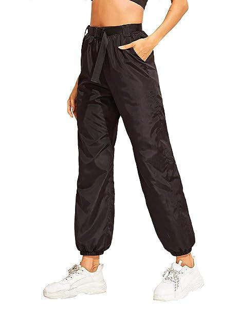 95fb45e39f57a Romwe Women's Elastic Waist Drawstring Color Block Sporty Running  Windbreaker Pants with Pockets