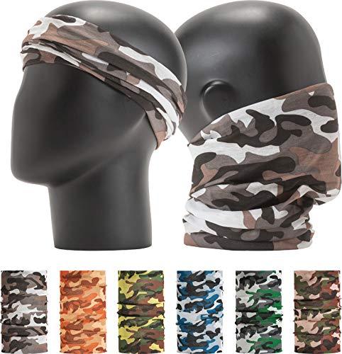 "(LEEVO Pattern Bold Headwear Scarf Boho Headband Wrap Shield Neck Gaiter Bandana (Free Size (18.5"" 9.25""), Camouflage Military No.2, 6pcs Total))"