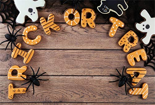 LFEEY 7x5ft Halloween Trick or Treat Cookie Background Spider Web Toy Black Cat Ghost Biscuits on Wooden Board Photography Backdrop Kid Child Holiday Party Decor Photo Studio Props Vinyl Banner ()