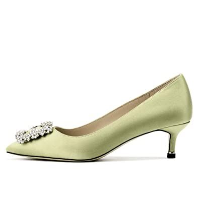 00a7c8fc01b Lutalica Women s Kitten Heel Pointed Toe Jeweled Buckle Bridal Wedding  Satin Court Shoes Pale Green Size