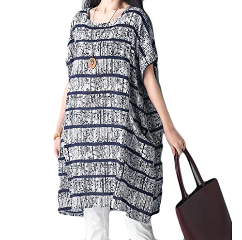 Coolred Chinese Size Summer Printing Sleeves Women Dress Grey Style Short Plus a7rxaq