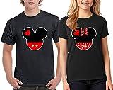 Camalen Popular Love Heart Head Design Couple Round Neck T-Shirt Tee Shirt 1(Black-Black,Men-M/Women-M)