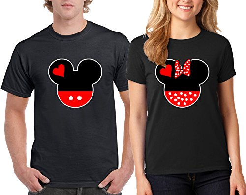 Mickey Minnie Head Lovely Matching T-Shirt Couple for Men and Women Adult (Black-Black/Large-Medium)