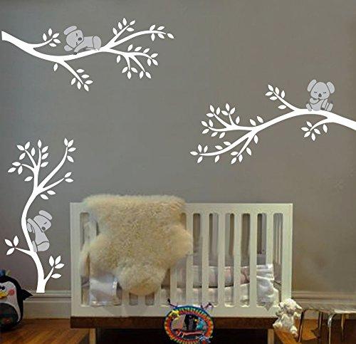 LUCKKYY Three Koalas tree Branches Wall Decal Wall Sticker Baby Nursery Decor Kids Room (White)