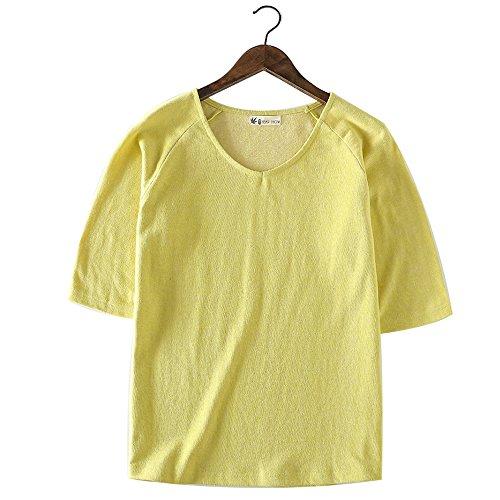 【HEMP SHOW】レディース ラグラン七分袖Tシャツ 色織り 先染め織物 ヘンプ?オーガニックコットン