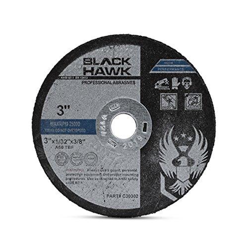25 Pack 3'' x 1/32'' x 3/8'' Arbor Metal & Stainless Steel Cut Off Wheels - For Die Grinders by Black Hawk