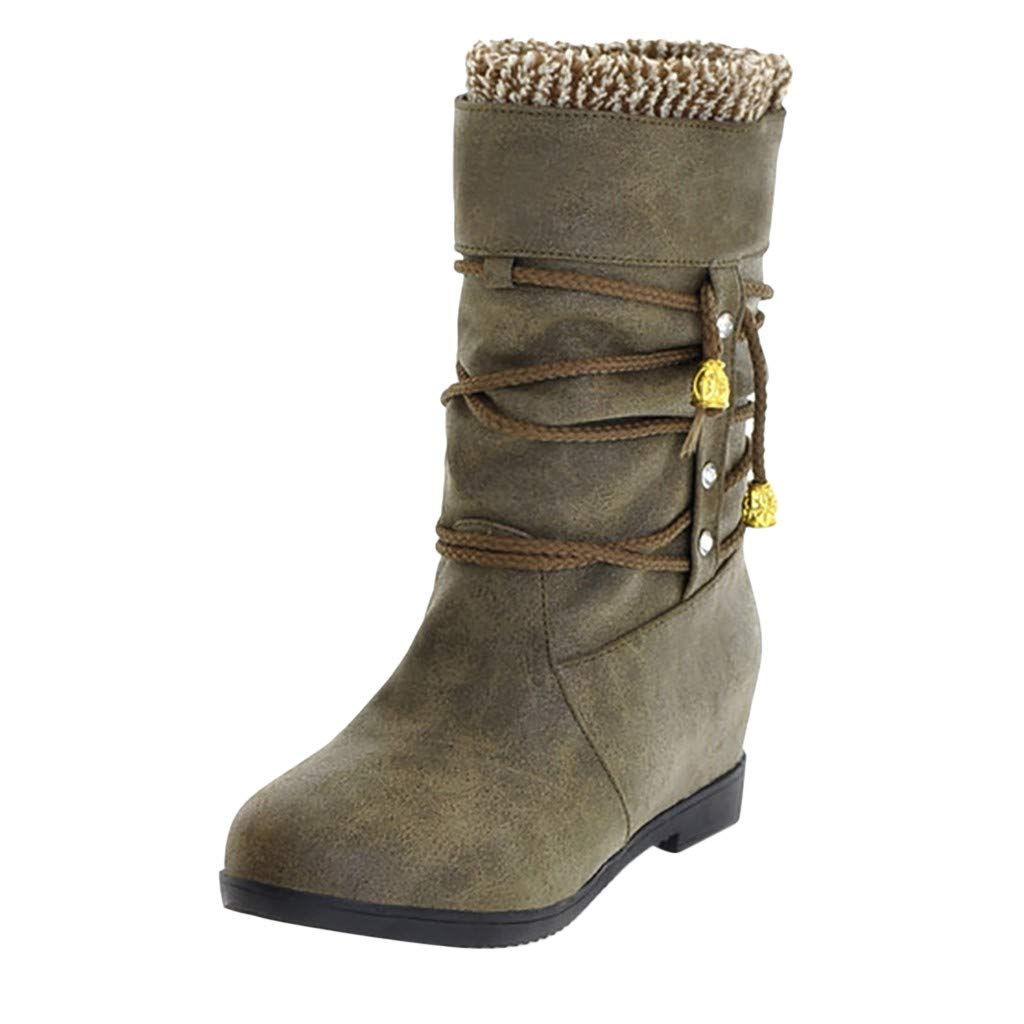 Dermanony Womens Increase Within Boot Outdoor Warm Mid Calf Waterproof Durable Boot Casual Middle Tube Large Size Boots Army Green by Dermanony _Shoes
