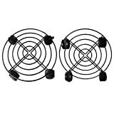 LYTIVAGEN 2 Pack Metal Plant Caddy Iron Plant Stand with Wheels Flower Garden Pot Round Plants Trolley Casters Capacity 50KG for Indoor Outdoor Home and Garden (Black)