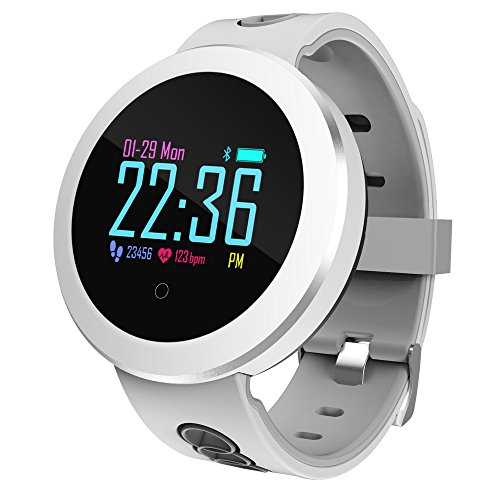 COSVII Smart Watch Waterproof, Bluetooth Fitness Tracker with Heart Rate Monitor, Sleep Monitor, Step& Calories Tracker, Alarm Clock, Call/SNS/SMS Reminder, Compatible with Android and iOS (White)