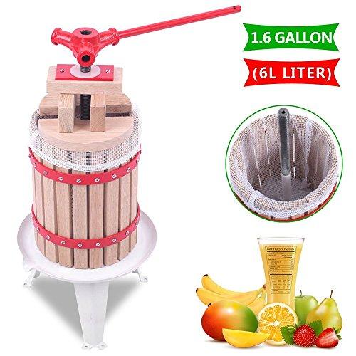 OrangeA 1.6 Gallon Fruit and Wine Press Solid Wood Basket Fruit and Wine Manual Press Press Cider Apple Grape Crusher Juice Maker (1.6 Gallon)
