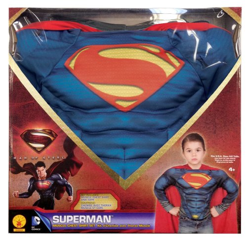 Superman: Man Of Steel Superman Muscle Chest Shirt Box Set, (Man Of Steel Cape)