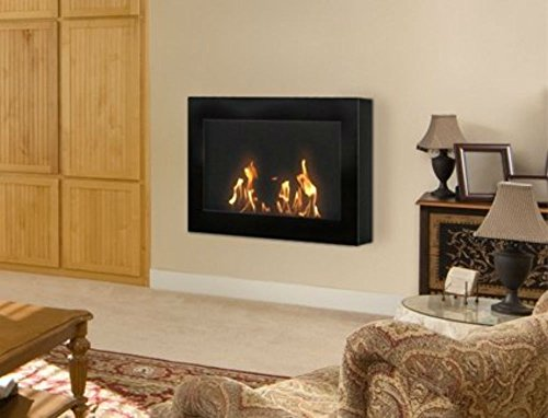 Style Ventless Gel Fuel Fireplace (Anywhere Fireplace - SoHo Model Black Wall Mount Fireplace)