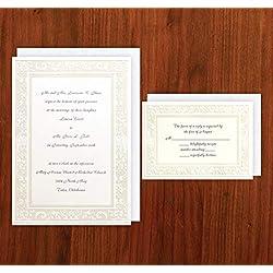 Pearlized White Damask Elegance Wedding Invitation & RSVP with Envelopes - Set of 25 - AV1717