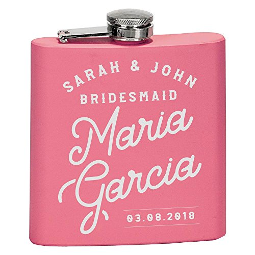 Personalized Bridesmaid Gifts, Will You Be My Bridesmaids Flasks for Women Personalized Flask for Liquor w Optional Gift Box - Customized Flask Set Bridesmaids Wedding Day Gifts | Wedding Favor #B1 ()