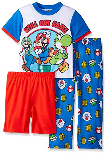 Super Mario Brothers Big Boys' Nintendo 3-Piece Pajama Set, Game Time Blue, 10
