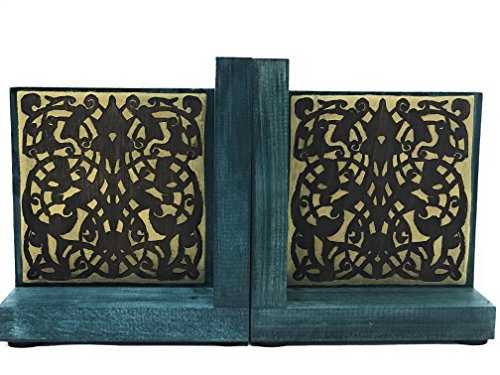 fted Medieval Arabesque Woodburned Bookends - Home or Office Decor With a Historical Mamluk Pattern - 5 x 7