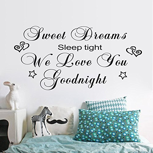 Fange Large Black DIY Removable Sweet Dreams Sleep Tight We Love You Goodnight Art Mural Vinyl Waterproof Wall Stickers Kids Room Decor Bedroom Decal Sticker Wallpaper 44.9''x22.4''