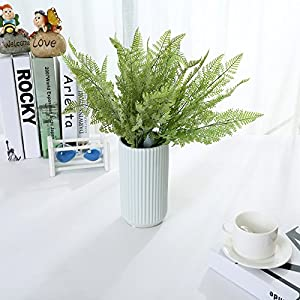 Felice Arts 4 PCS Artificial Boston Shrubs, Plastic Faux Fern Purple Fake Plant Inside Outdoor Decoration for Wedding, Garden, Farmhouse, Home Space, Office or Gifts 4