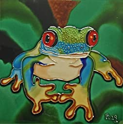 Continental Art Center BD-0094 8 by 8-Inch A Red Eye Frog with Green Background Ceramic Art Tile