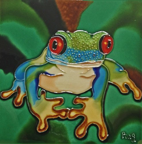 Continental Art Center BD-0094 8 by 8-Inch A Red Eye Frog with Green Background Ceramic Art Tile ()