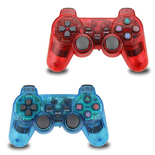 2pcs Pack Wireless PS2 Game Controller, Double Shock Gamepad for Sony PlayStation 2 (Sony Controller Ps2)