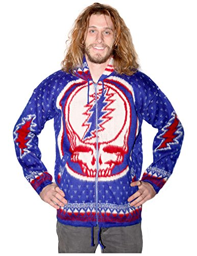 Amazon.com: Grateful Dead Alpaca Style Zip Up Hooded Sweater ...