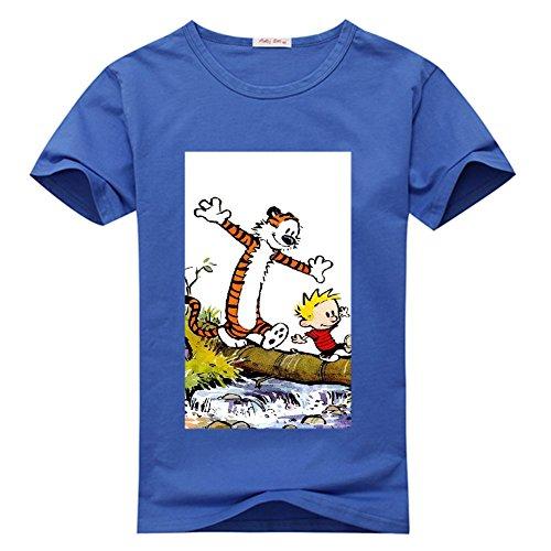 newquato Mens T-Shirt Calvin and Hobbes Medium Navy