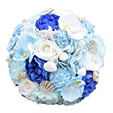 Heartgown Ocean Stars Brides Bouquets Crystals Sea Shells Matching Artificial Rose Flowers for Beach Weddings