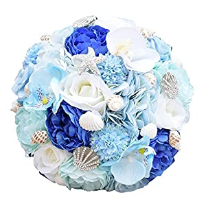 Heartgown Ocean Stars Brides Bouquets Crystals Sea Shells Matching Artificial Rose Flowers for Beach Weddings 102