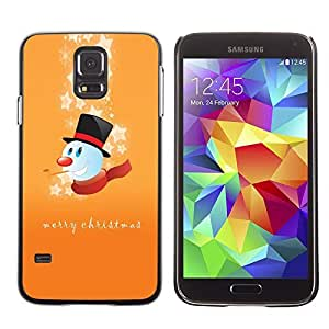 YOYO Slim PC / Aluminium Case Cover Armor Shell Portection //Christmas Holiday Merry Happy Snowman 1198 //Samsung Galaxy S5