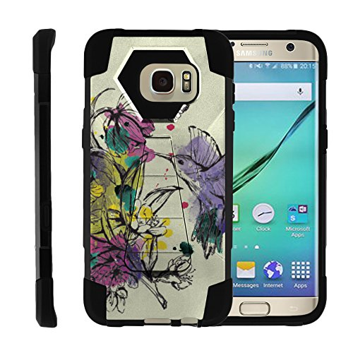 Hummingbird Pc (Samsung Galaxy S7 Edge, Full Body Fusion SHOCK Impact Kickstand Case with Exclusive Illustrations by Miniturtle - Hummingbird Flowers)