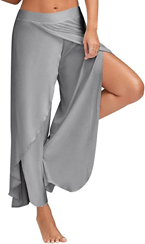 Kangrunmy Leggings Donna Push Up,Estate Donne Casual Pantaloni Larghi Gamba Culottes Stretch Abbigliamento Pantaloni Leggings Donna Cotone