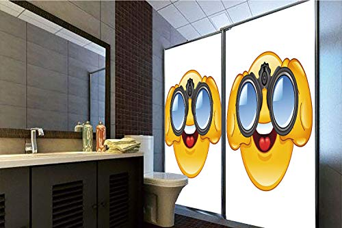 Binoculars Translucent - Horrisophie dodo 3D Privacy Window Film No Glue,Emoji,Smiley Face with a Telescope Binoculars Glasses Watching Outside Cartoon Print,Yellow and Blue,70.86