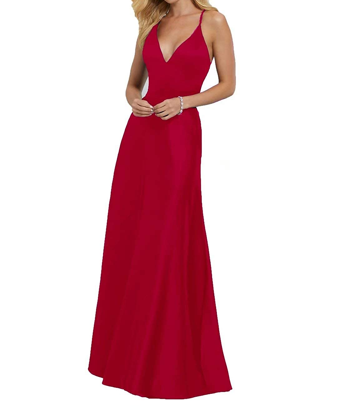 Red ANFF Spaghetti Straps Deep VNeckline Sexy Satin Bridesmaids Dress Long Formal Gowns for Juniors