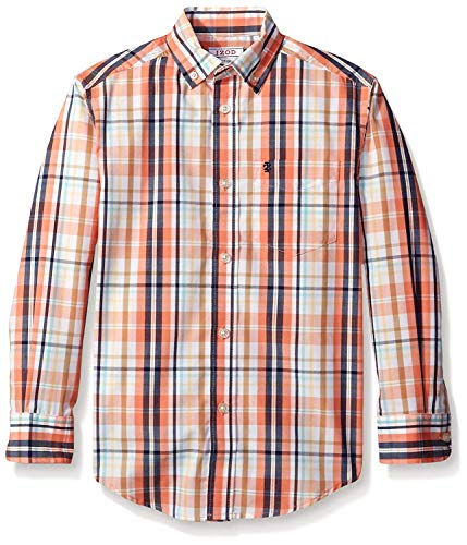 Woven Boys Shirt - IZOD Kids Big Boys' Spring Plaid Woven Shirt, Bright Orange, Large