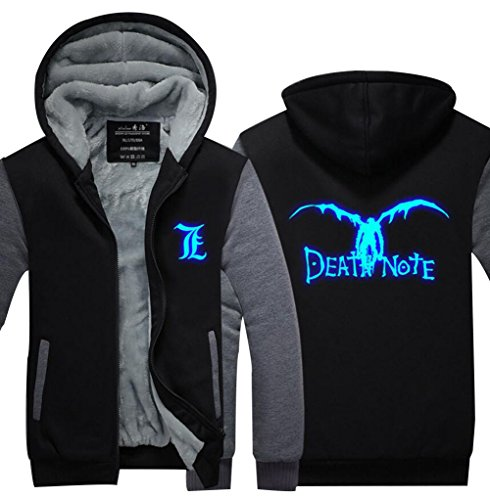 Poetic Walk Death Note Cosplay Costume Luminous Winter Hoodie Jacket (X-Large, Black&Gray) (Death Note Cosplay Costumes)
